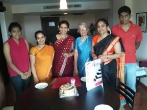 With her doting grandchildren