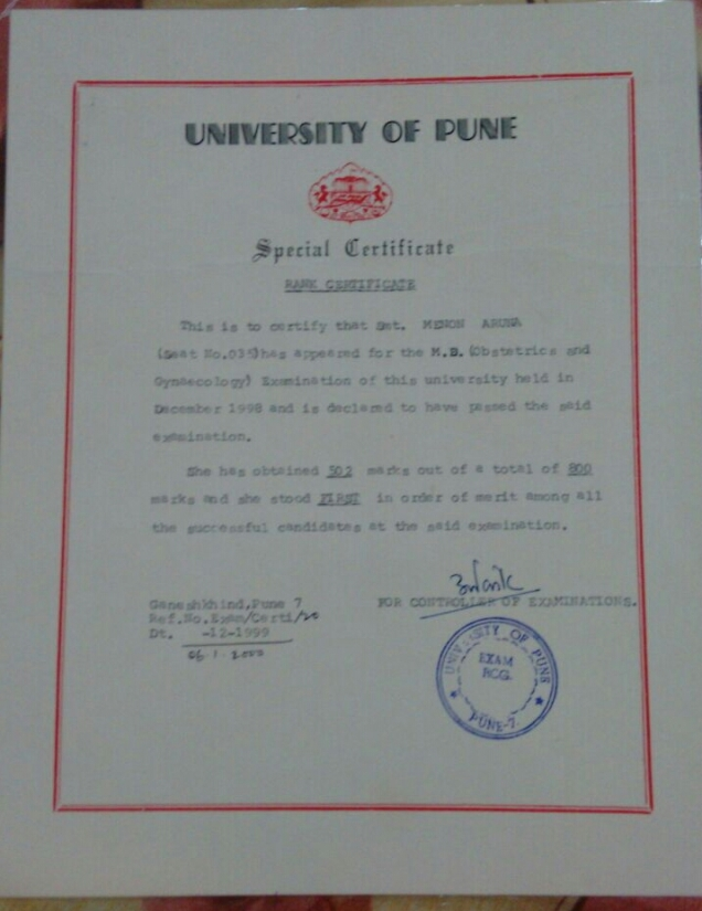 Rank Certificate for standing 1st at MD exam  from Pune University